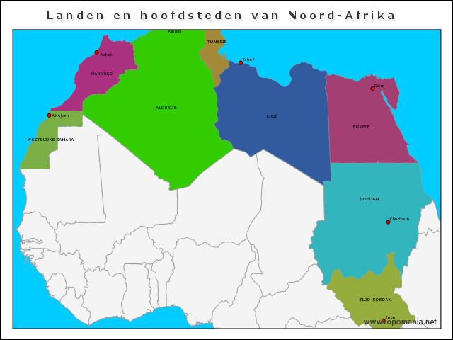 landen-en-hoofdsteden-van-noord-afrika